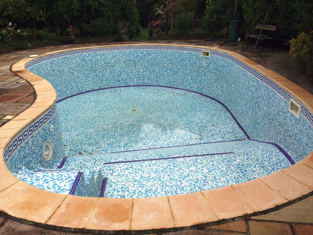 Mosaic tiled Pool Before Cleaning in the New Forest