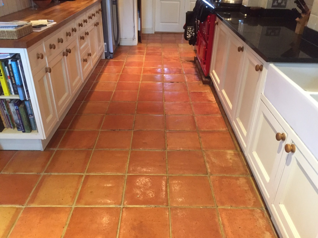 Removing efflorescence from a terracotta tiled floor in lymington terracotta floor with efflorescence in lymington before dailygadgetfo Choice Image
