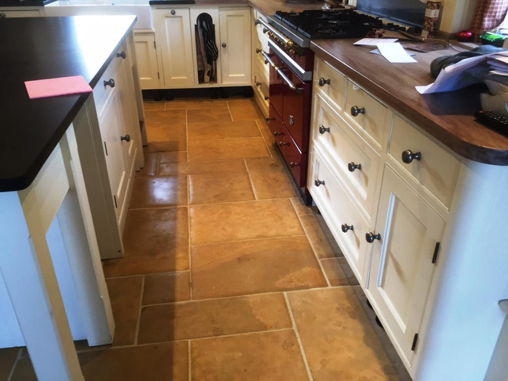 Limestone floor after polishing Lyndhurst New Forest