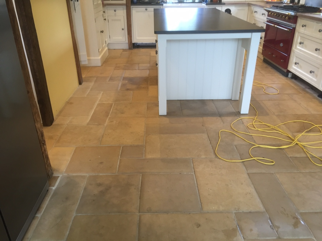 Limestone Floors In Kitchen Cleaning And Polishing A Dull Limestone Kitchen Floor Tiles In The