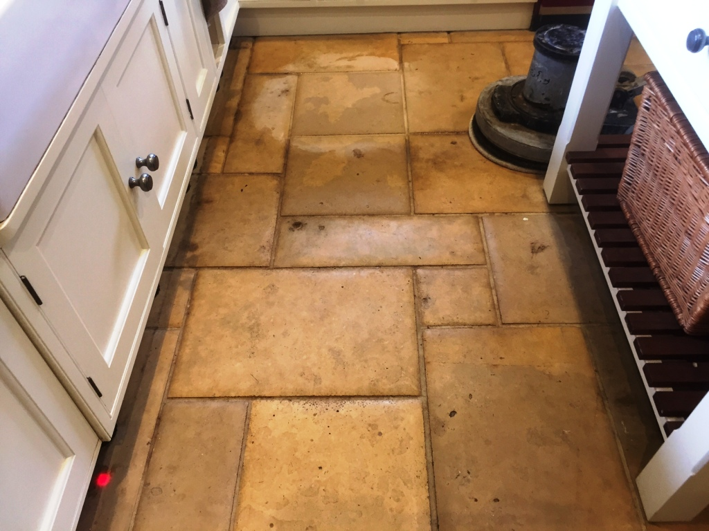 Limestone floor during cleaning Lyndhurst New Forest