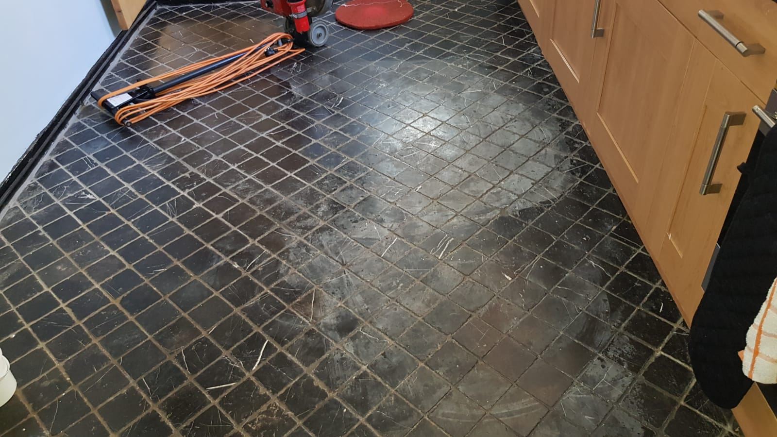 Acid Damaged Marble Floor Tiled Kitchen Floor Before Renovation Winchester