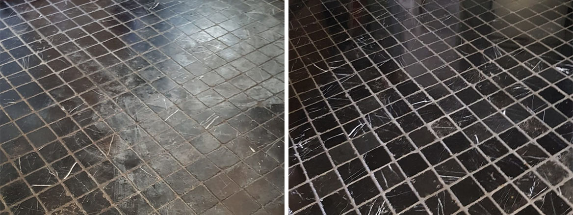 Acid Damaged Marble Floor Tiled Kitchen Floor Before and After Restoration Winchester