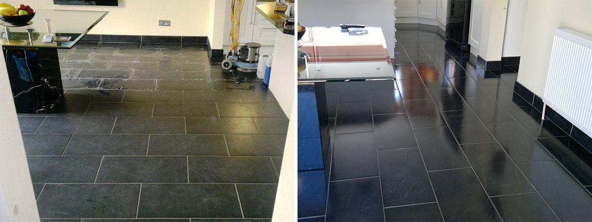 Black Slate Floor Portsmouth Finished