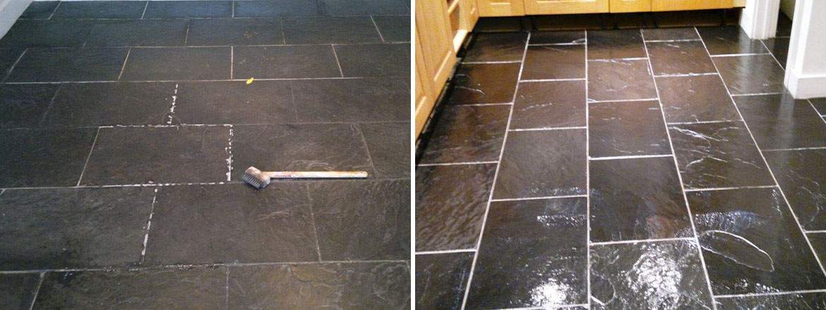 Cleaning and Sealing Black Chinese Slate Tiles in Basingstoke