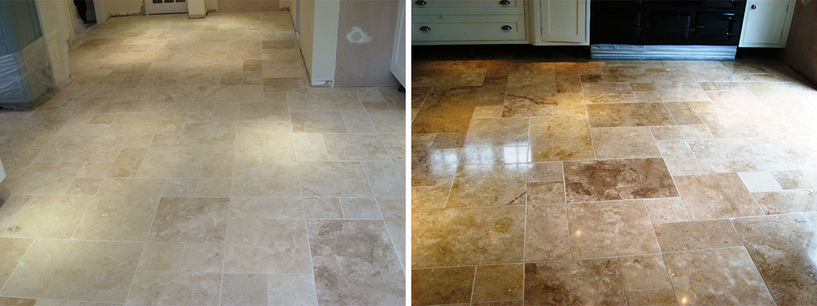 Cleaning & Sealing Travertine Floor Tiles in Havant