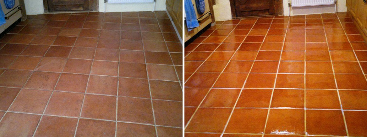 Terracotta Tiled Floor Maintained in Fareham, Hampshire