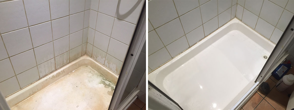 Limescale Removal Basingstoke Shower Cubicle Before and After