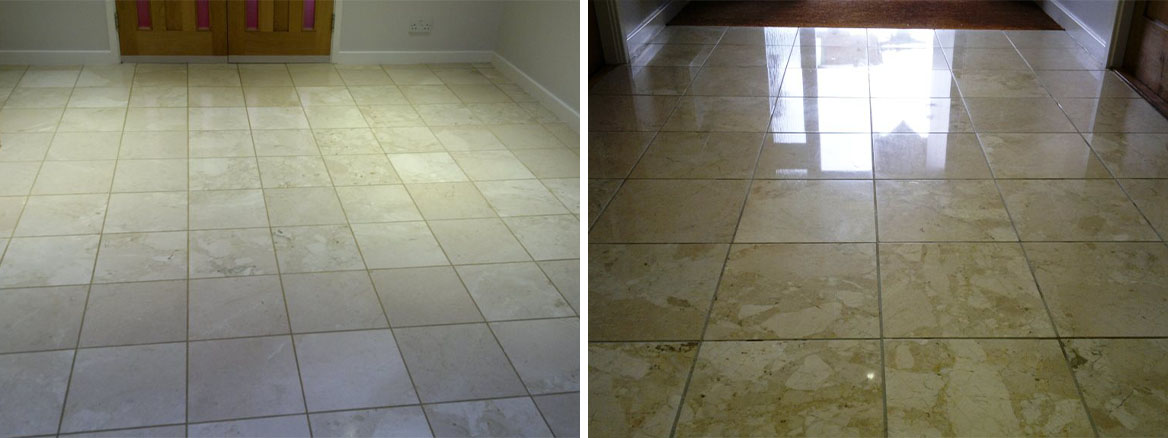 Cleaning & Polishing Marble Floor Tiles in Petersfield