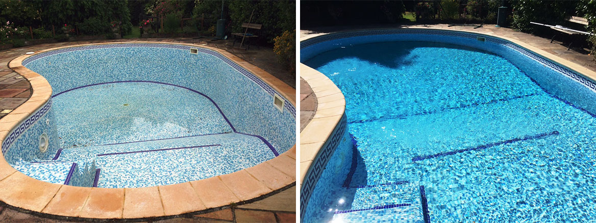 Mosaic tiled Pool Before and After Cleaning in the New Forest
