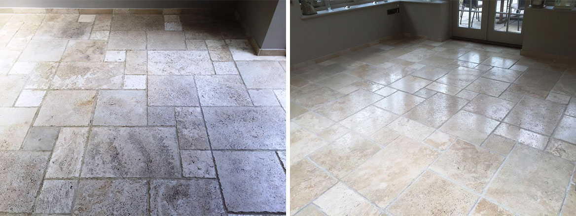 Pitted Travertine Floor Tiles Before and After burnishing in Andover
