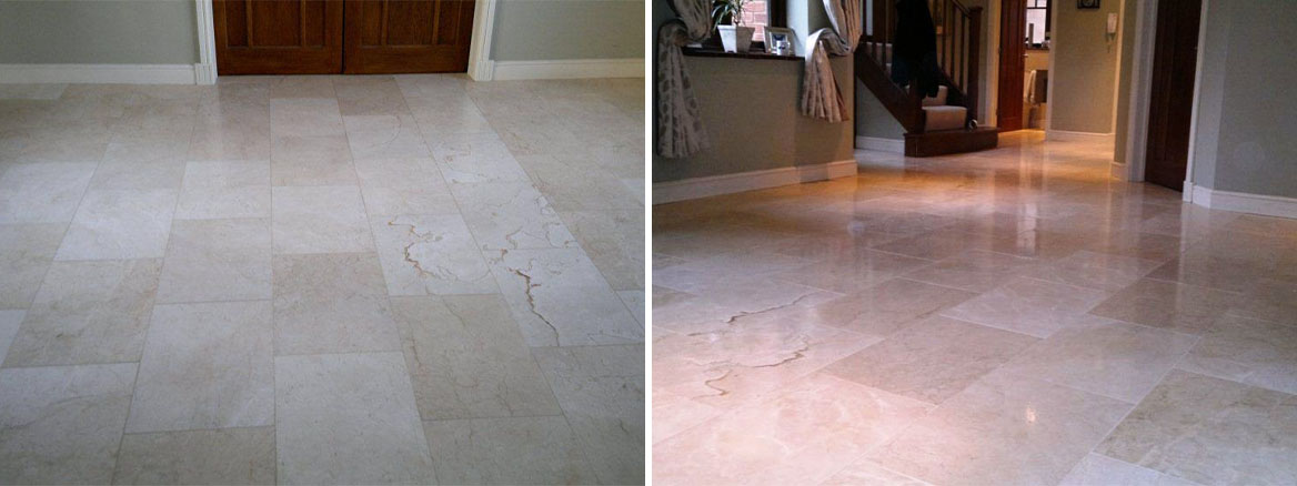 Polished Travertine Lymington Before and After Cleaning and Polishing