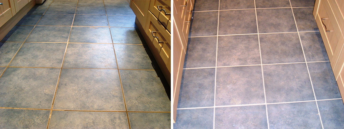 Romsey Ceramic Tile and Grout Before and After Cleaning and Colouring