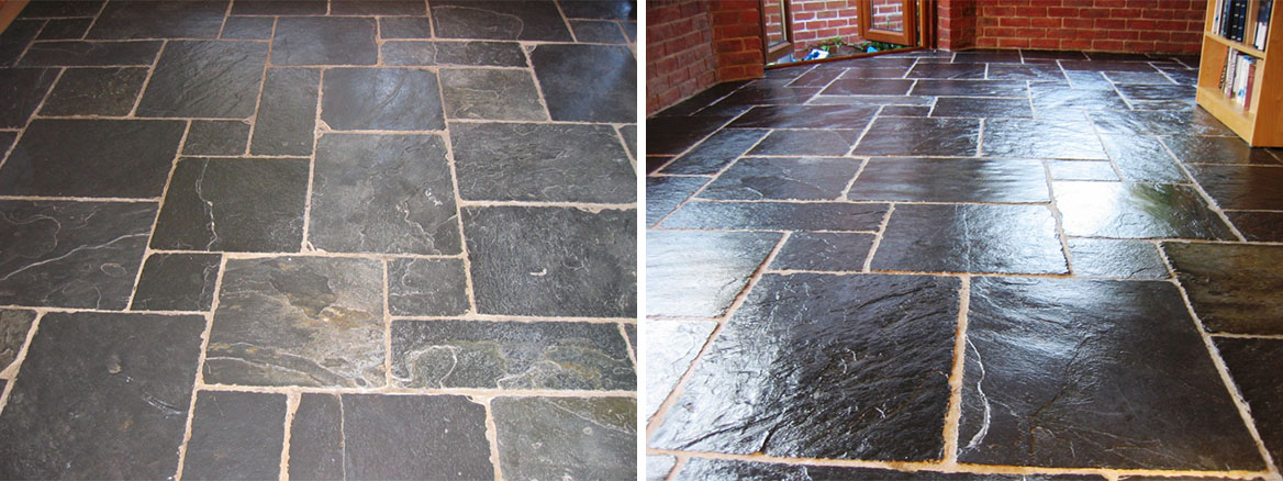 Cleaning & Sealing Slate Flagstone Tiles in Fareham