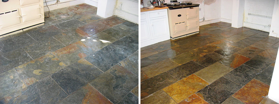 Southampton Slate Tiled Floor Before and After Cleaning