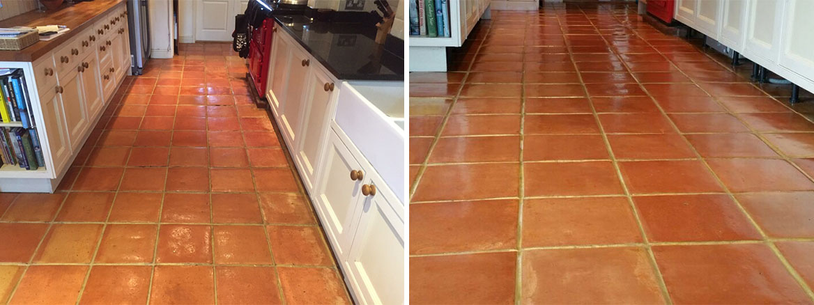 Terracotta Floor With Efflorescence in Lymington Before and After