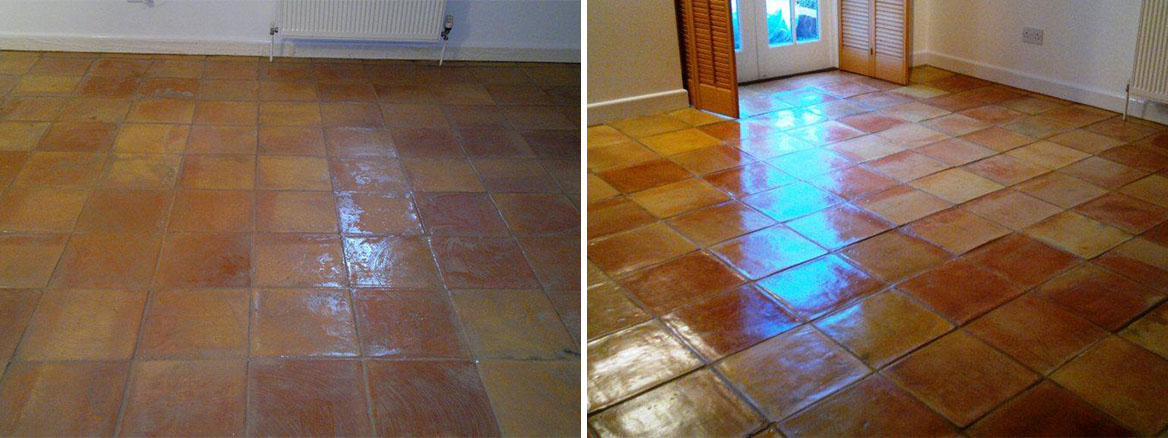 Terracotta Tiled Floor Before and After Cleaning in Andover