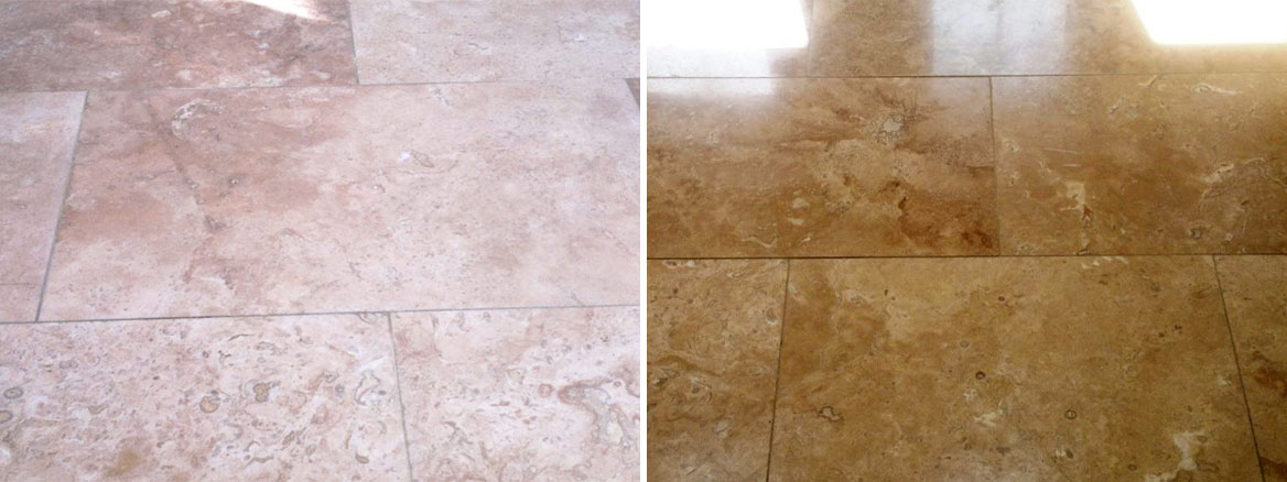 Travetine Tiles in Fareham Before and After Polishing