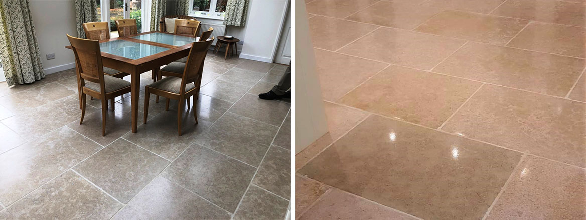 Uneven limestone tiled floor Wickham Before and After levelling