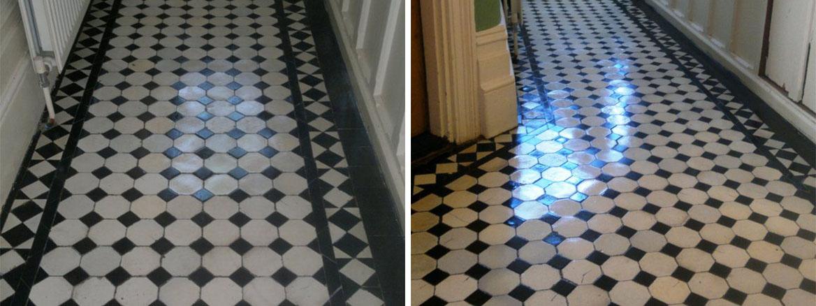 Victorian Tiled Hallway Cleaned and Sealing in Portsmouth