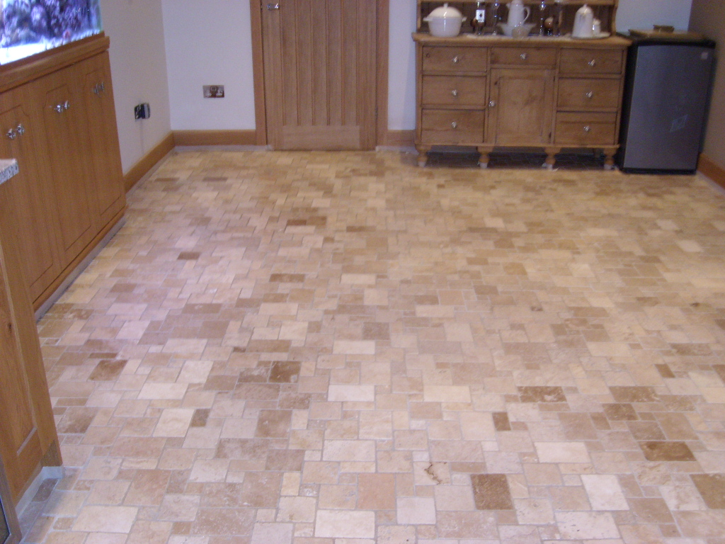 Travertine Tiled Floor Portsmouth Before