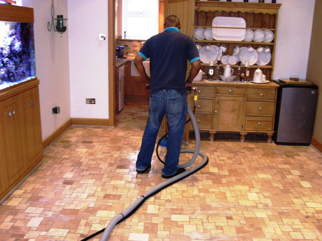 Travertine Tiled Floor During Cleaning