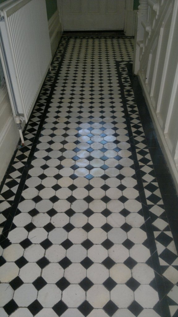 Victorian Tiled Hallway Floor Before