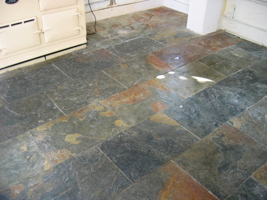 Southampton Slate Tiled Floor before Cleaning