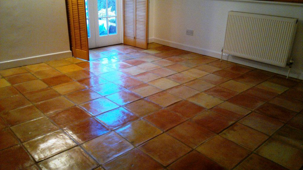 Terracotta Tiled Floor After Cleaning in Andover