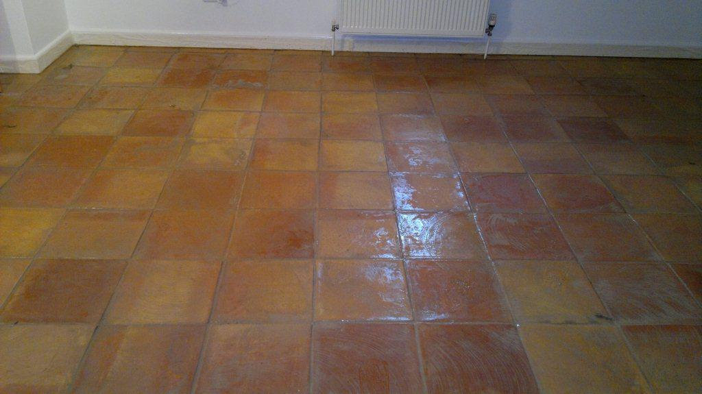 Terracotta Tiled Floor Before Cleaning in Andover