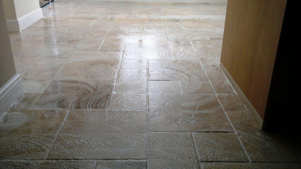Farnham Travertine Floor Cleaning in Progress