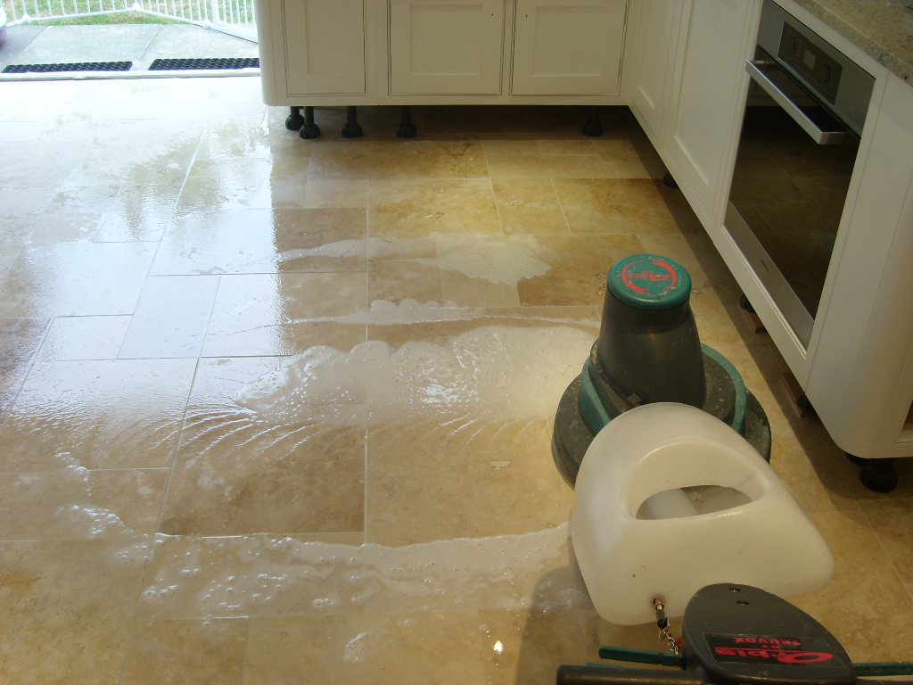Cleaning Travertine Floor Tiles in Havant During