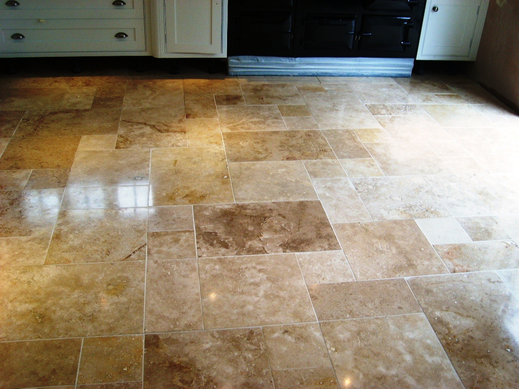 Cleaning Travertine Floor Tiles in Havant Finished