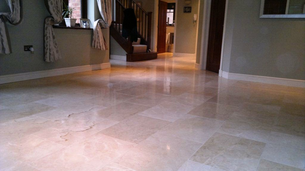 Cleaning & Polishing Travertine Floor Tiles in Lymington