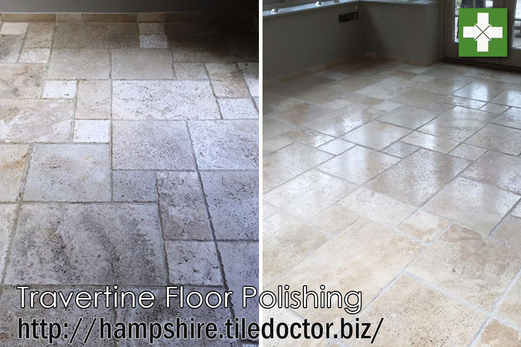 Travertine floor before and after polishing in Andover