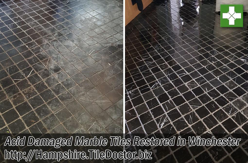 Damaged Marble Tiled Kitchen Floor Before After Restoration Winchester